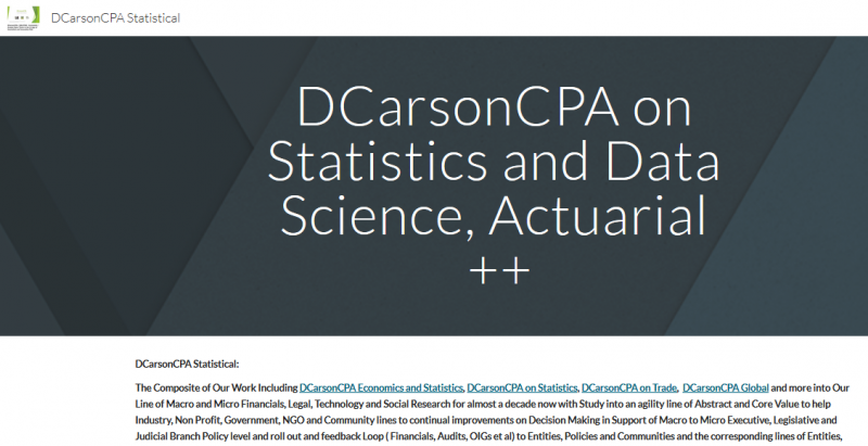 DCarsonCPA Statistical support on Statistics, Data Science, Actuarial Apprtce ++