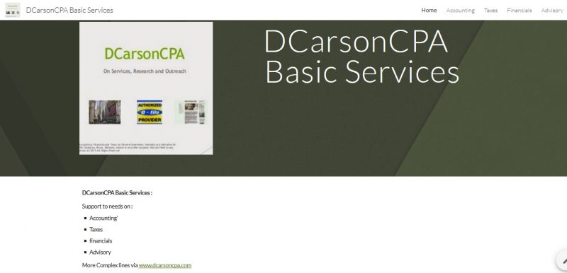 DCarsonCPA Basic Services on Accouting, Taxes, Financials, Compliance+ Analysis