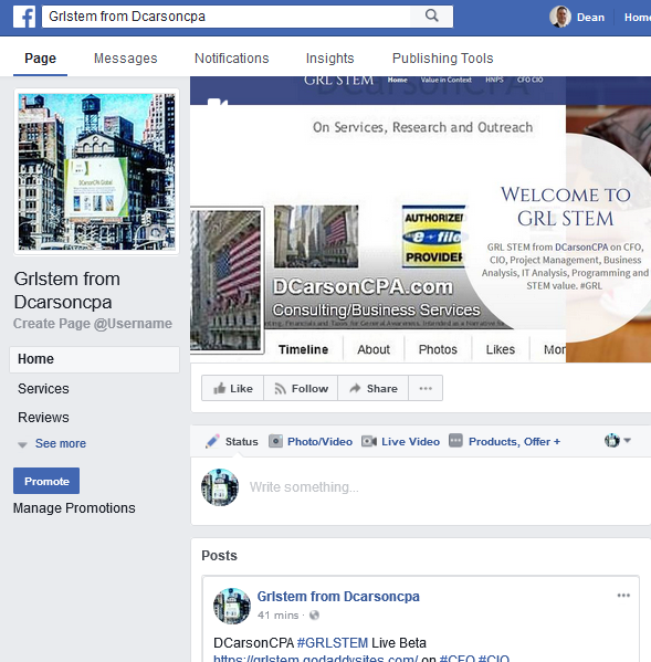 GRLSTEM on Facebook, DCarsonCPA GRL STEM, Growth, Risk, Logistic, CFO, CIO, PM